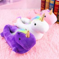 3D Unicorn Slippers Home Bedroom Fluffy Foot Warmer Shoes Wi