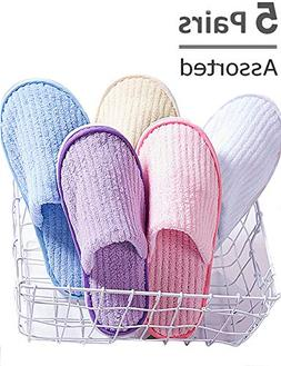 Eucoz 5 Pairs Spa Slippers,Assorted Color,Closed Toe for Fam