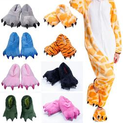 Adult Kid Animal Monster Feet Slippers Claw Dinosaur Paw Plu