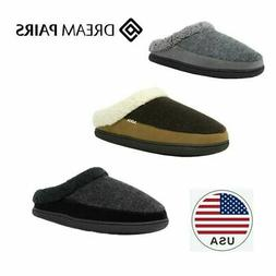 DREAM PAIRS Men Winter Suede Soft Faux Fur Lining House Slip