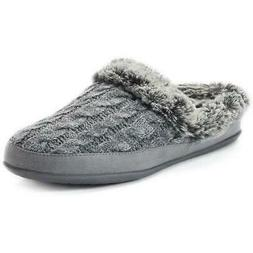 SKECHERS Beach Bonfire Gray Women's Mules Knit Slippers Slip