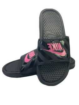 NIKE Women's Benassi Just Do It Sandal, Vivid Pink-Black, 5