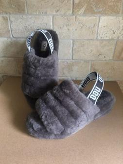 UGG CHARCOAL FLUFF YEAH SLIDE SHEEPSKIN SLINGBACK SHOES SLIP