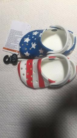 CROCS Classic USA  American Flag - Red White and Blue - Chil