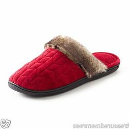 Isotoner Clog Slippers With Faux Fur Trim ~ Size  ~ Red ~ Ne