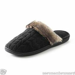 Isotoner Clog Slippers With Faux Fur Trim ~ Size Medium  ~ N