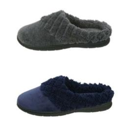 DF by Dearfoams Women's Navy or Gray Slip-on Velour Clog Sli