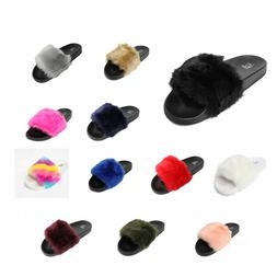 Womens Faux Fur Slide On Furry Sandals  Mules Slippers Shoes