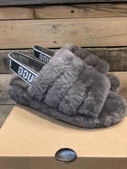UGG FLUFF YEAH Slippers SLIDES CHARCOAL SLINGBACK SHOES SIZE