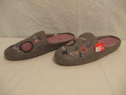 Acorn Gray Floral Embroidered Slide Slippers Womens Size 11
