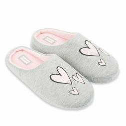 Gray Heart House Slippers In/Outdoor Rubber Sole - WOMEN'S S