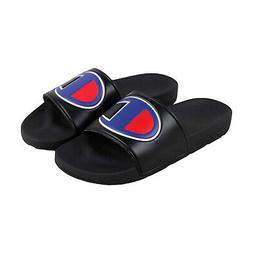 ipo mens black synthetic slides slip on