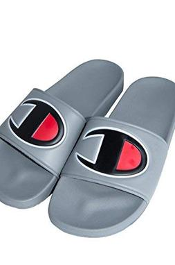 Champion Ipo Mens Gray Leather Slide Slip On Sandals Shoes 9