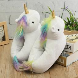 3D Unicorn Slippers Plush Soft Warm Winter Shoes Fluffy Unis