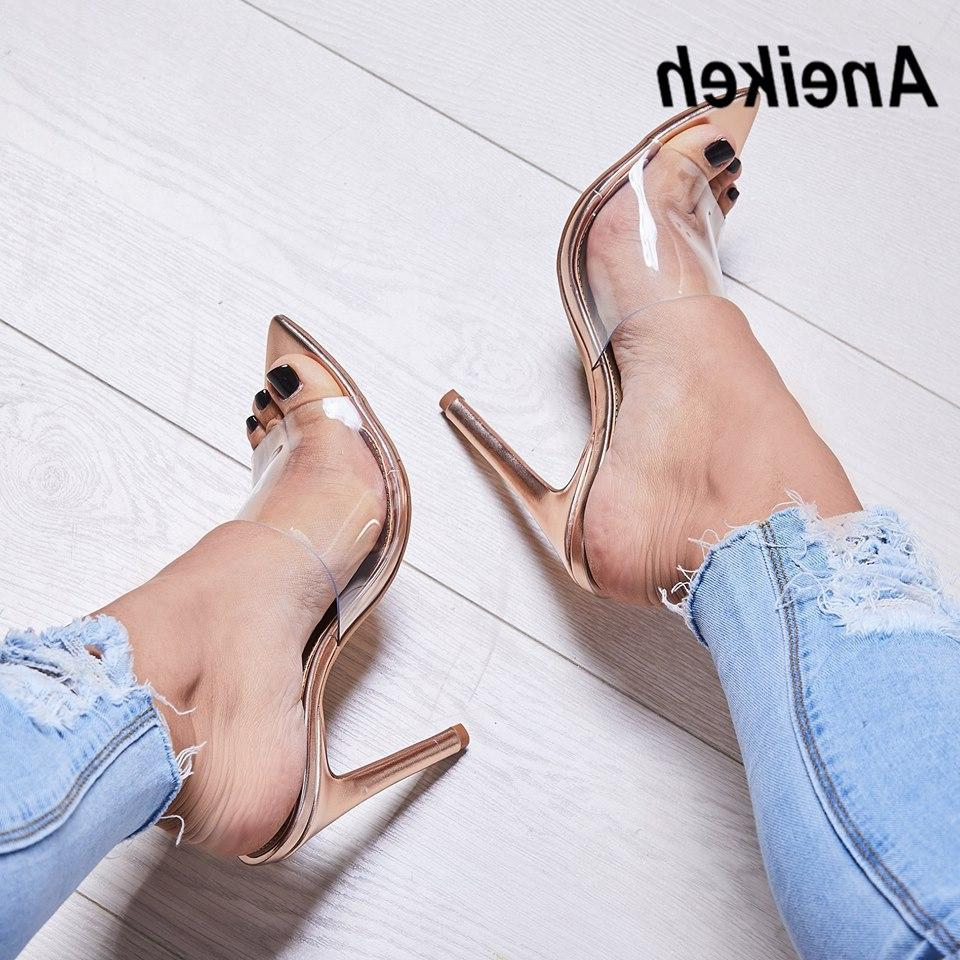 Aneikeh Summer <font><b>Slippers</b></font> Thin High <font><b>Heels</b></font> Solid Pointed 35-40