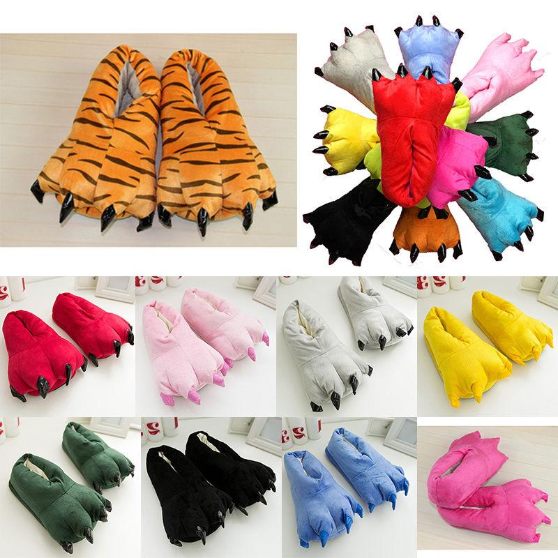 Feet Slippers Claw Paw Plush Gift