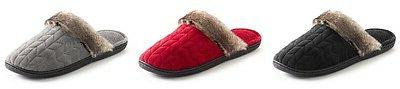 Isotoner Clog Slippers With Faux Fur Trim ~ Red, Gray or Bla