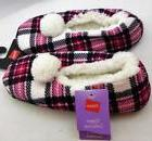 Hanes Footies Slippers Rose Plaid Large Size 9-10 White Pom