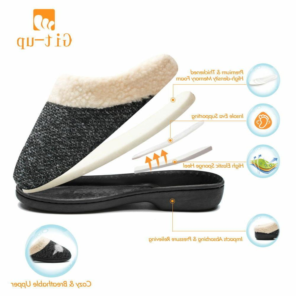 Git-up Women's Memory Foam Slip-on Shoes Wool Fleece W/Indo