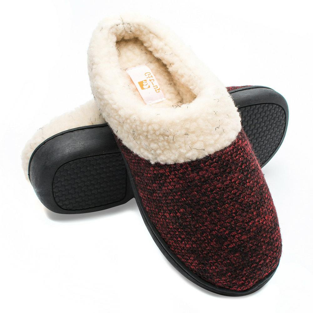 Git-up Women's Foam Slip-on House Shoes Wool Fleece