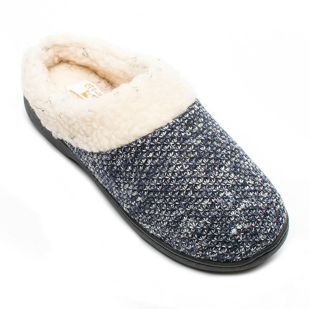 Git-up Women's Slippers Memory Foam Slip-on Wool W/Indo