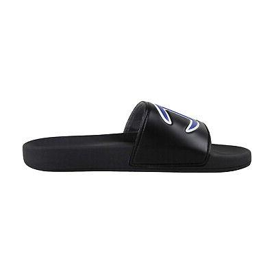 Champion Black Synthetic Slides Sandals