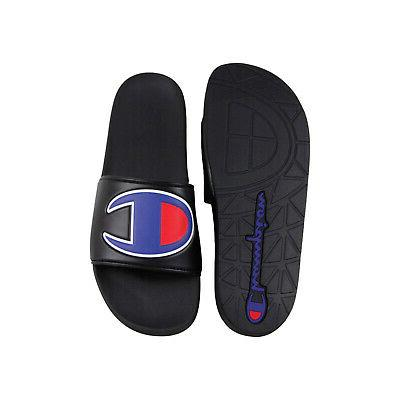 Champion Ipo Black Synthetic Slides Sandals Shoes