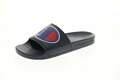 ipo mens blue synthetic slides slip on