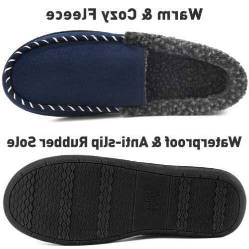 Men Moccasin Slippers Memory Foam Outdoor Comfortable House Shoes