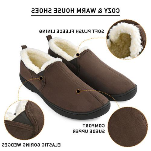 Men's Memory Slippers Wool-Like Comfortable Home Shoes Anti-Skid