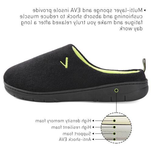 Men's Two Tone Memory Slip On House Shoes