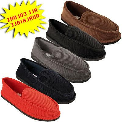 mens slippers house shoes corduroy color slip