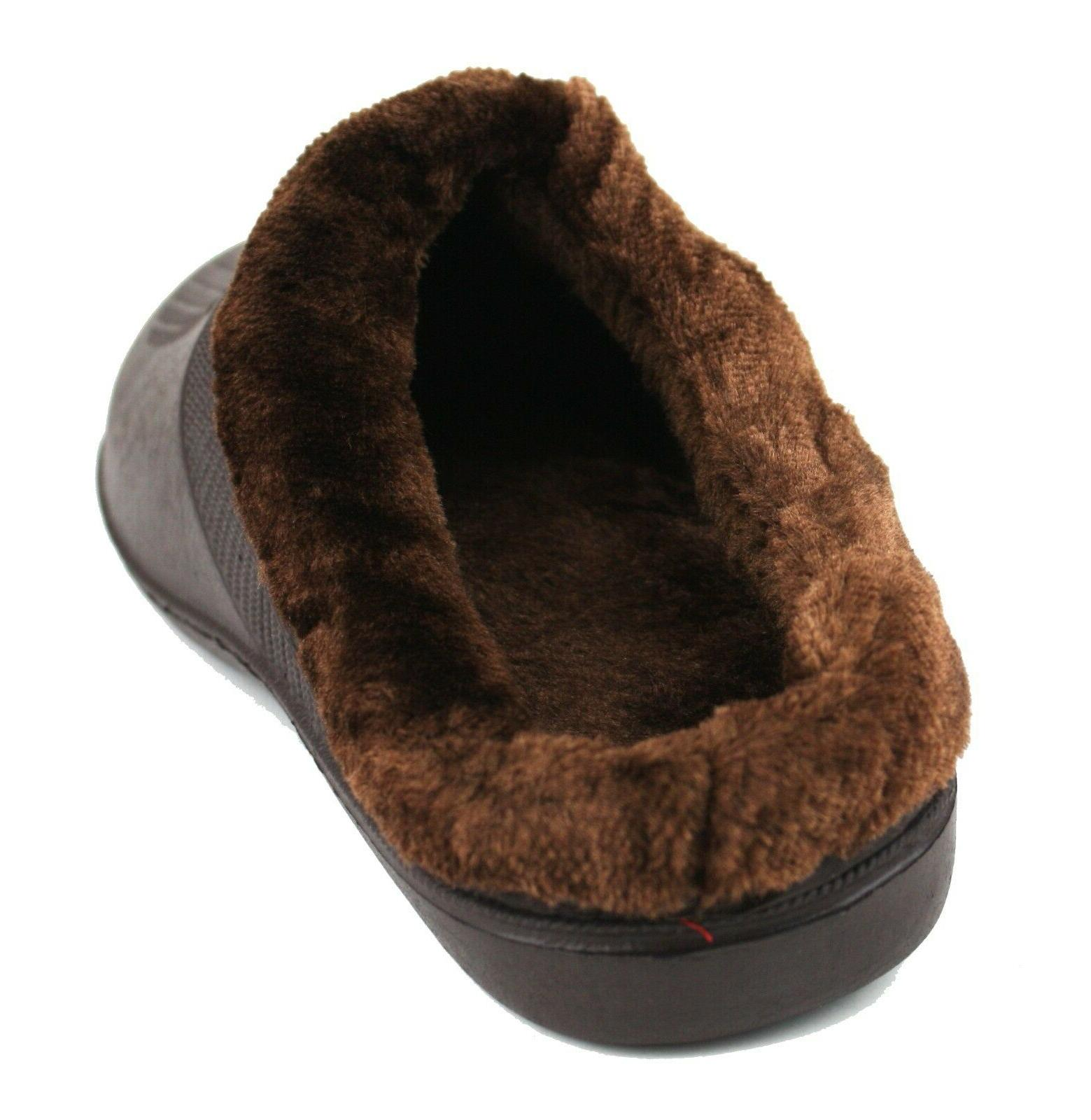 Mens Slippers Shoes Fleece Lined Rubber House Outdoor Non Slip