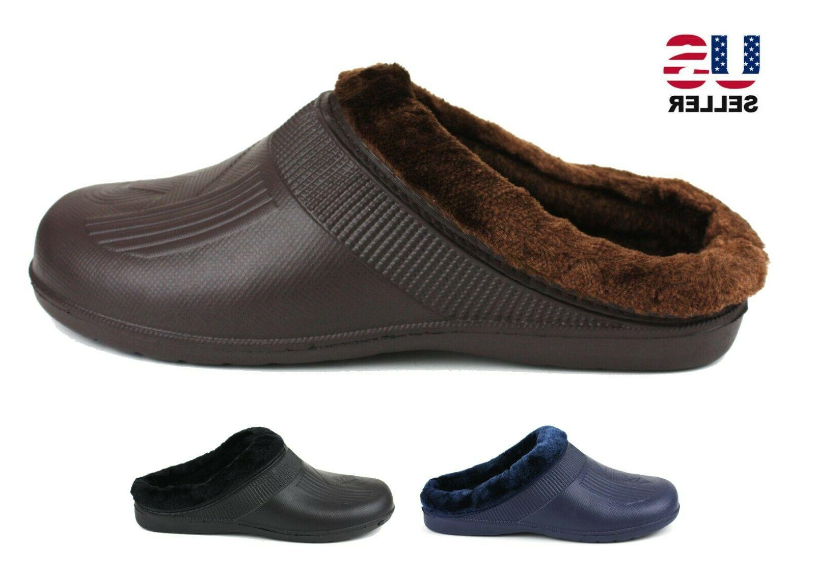 mens slippers shoes clogs fleece lined warm