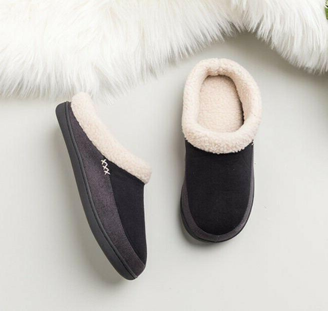 Mens Winter Warm Lined Slip On Cozy House Shoes