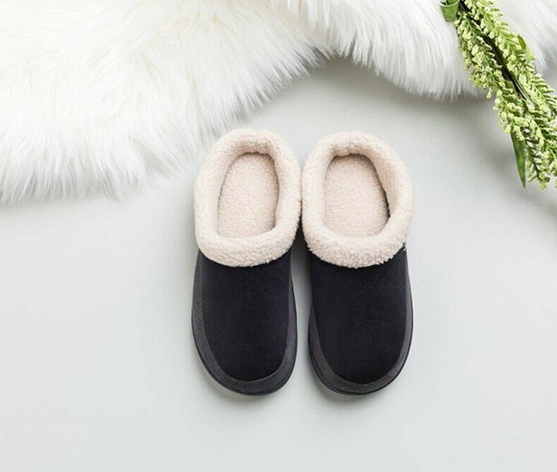 Mens Winter Lined Slippers Indoor Slip On Shoes