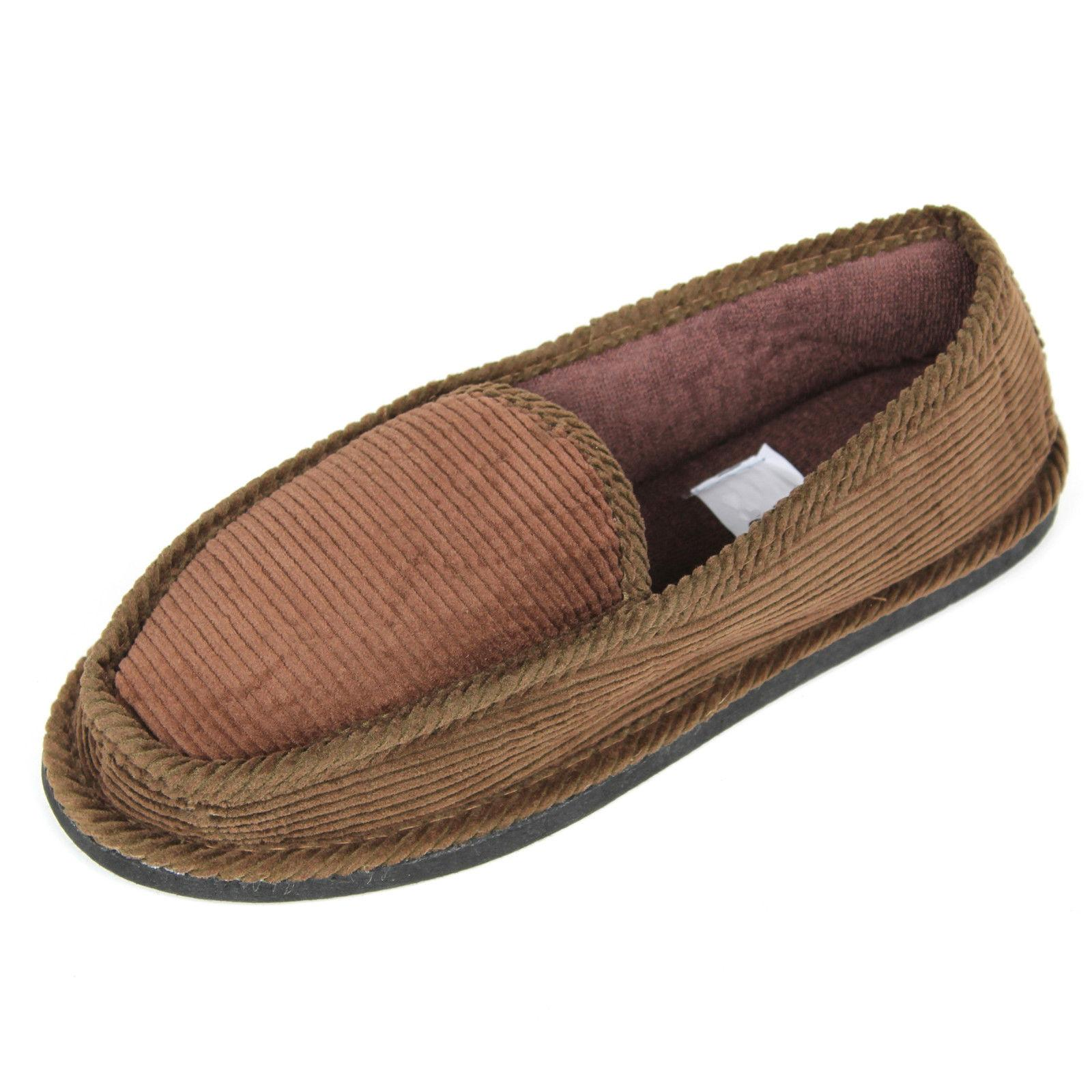 New Mens Slippers Corduroy Slip-on Shoes Size