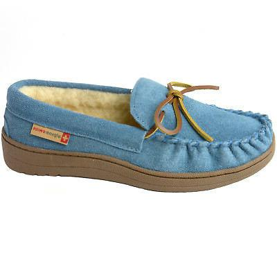 a16c470a8 Alpine Swiss Sabine Womens Suede Shearling Moccasin Slippers