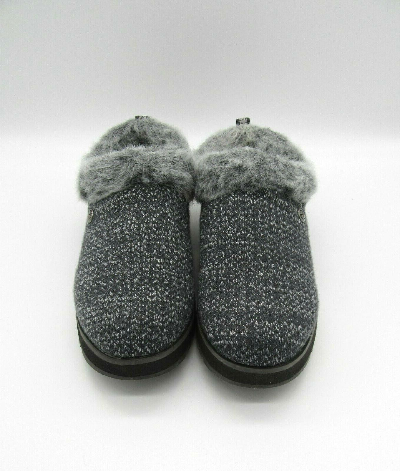 BOBS Skechers 6 High Charcoal Gray Knit Slip On Clogs