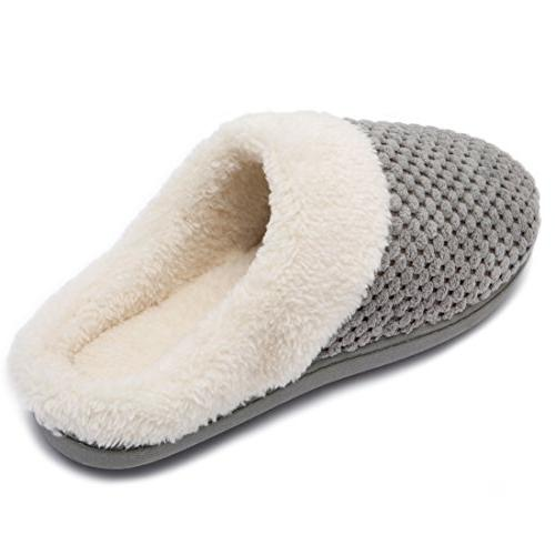 ULTRAIDEAS Soft Gridding Coral Velvet Short Plush Lining Clog Indoor Slippers