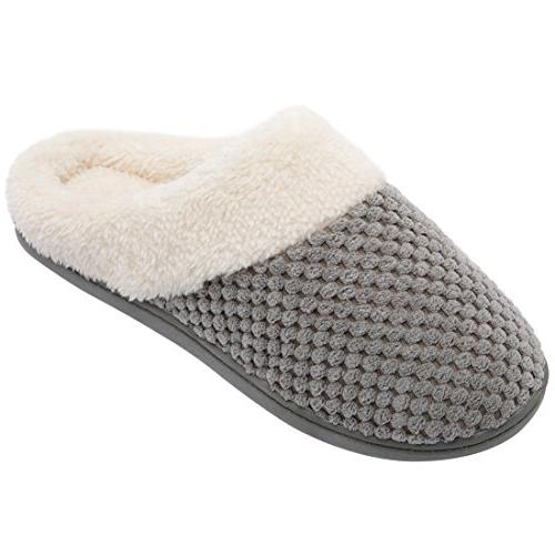 ULTRAIDEAS Women's Soft Coral Velvet Short Plush Lining Slip-on Foam Clog Indoor Gray)