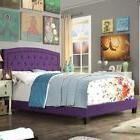 Twin Full Queen King Purple Upholstered Platform Bed Frame T