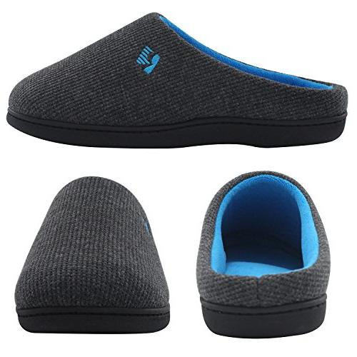 RockDove Men's Foam Slipper US, Gray/Blue)