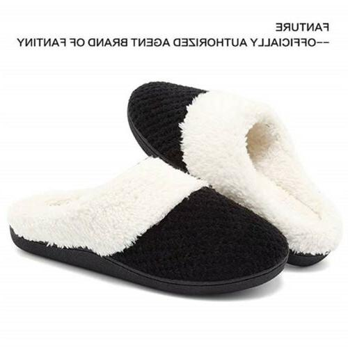 Winter Mens Women Slip on Home Slippers Thicken Bedroom Shoes