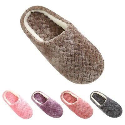 Ladies Womens Memory Foam Slippers House Shoes Anti Slip Comfy Home Size