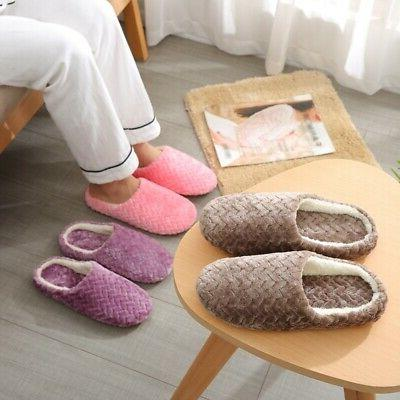 Men Women Slippers Slip On Plush Soft Winter Warm Ladies Hom