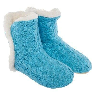 Yelete Women's Slippers House Booties Sherpa Lining Rubber
