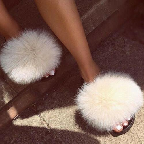 Women's Fox Fuzzy Furry Slippers Slip On Sandals Shoes