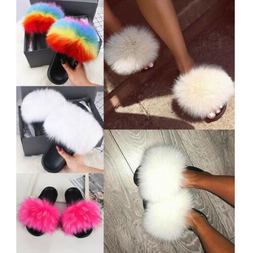Women's Fur Fuzzy Furry Slip On Sandals Shoes
