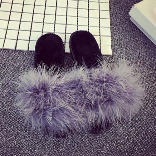 Women's Fur Open Toe Shoes Sandals Feather